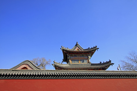 tantra: Gray roof and red walls of an ancient architectural style temple in inner mongolia