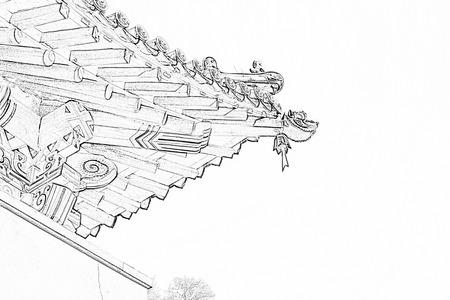 uncluttered: Temple eaves landscape architecture, closeup of photo