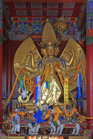 jade buddha temple: Hohhot City - February 6: The Big White Tara statue in Dazhao Lamasery, on February 6, 2015, Hohhot city, Inner Mongolia autonomous region, China