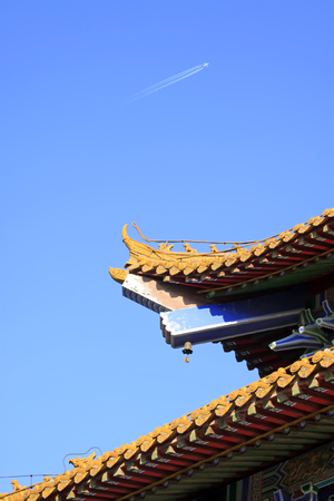 rafters: eaves in a temple, closeup of photo