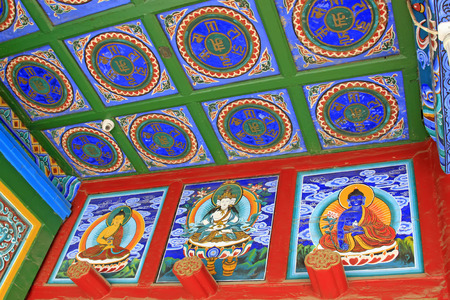 wall paintings: Hohhot City - February 6: ceiling and wall paintings in the Dazhao Lamasery, on February 6, 2015, Hohhot city, Inner Mongolia autonomous region, China Editorial