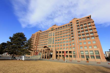 Hohhot City: het uitgebreide onderwijsgebouw van het Inner Mongolia Museum, op 7 februari 2015, Hohhot stad, autonome regio Inner Mongolia, China