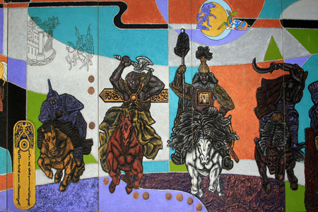 murals: Hohhot City : murals, national museum in Inner Mongolia university, on February 7, 2015, Hohhot city, Inner Mongolia autonomous region, China