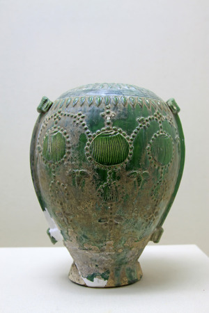 restore ancient ways: ancient Chinese pottery, closeup of photo Editorial