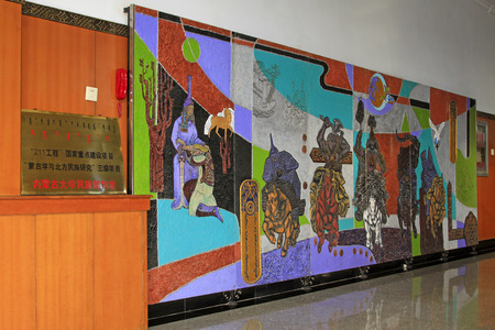 restore ancient ways: Hohhot City : murals, national museum in Inner Mongolia university, on February 7, 2015, Hohhot city, Inner Mongolia autonomous region, China