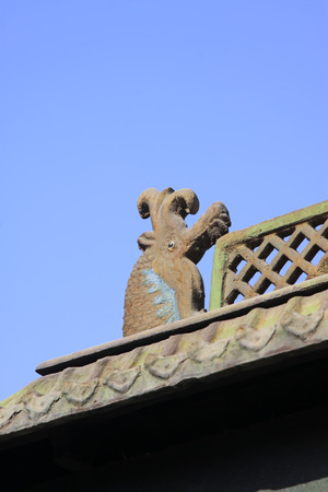 inner wear: animal heads decoration in a temple, closeup of photo