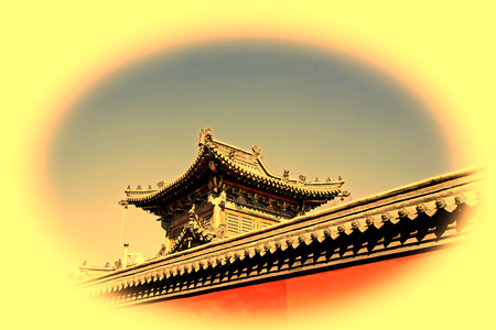 tantra: Gray roof and red walls of an ancient architectural building