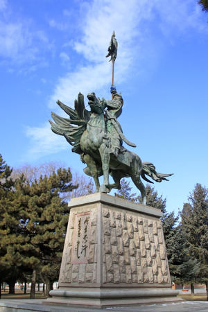 Hohhot City - February 7: Genghis khan sculpture in Inner Mongolia university campus, on February 7, 2015, Hohhot city, Inner Mongolia autonomous region, China Editorial