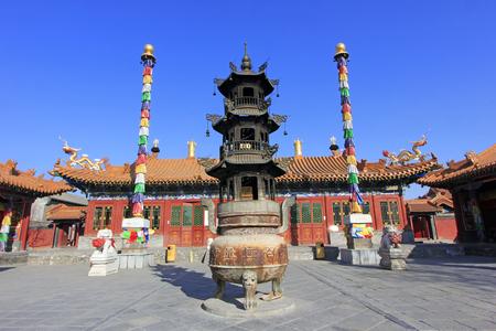 Hohhot City - 6 februari: Dazhao Lamasery bouwt landschap, op 6 februari 2015, Hohhot stad, autonome regio Binnen-Mongolië, China