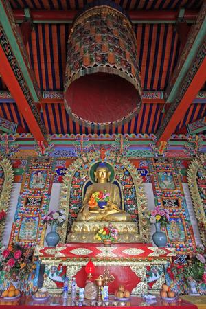 tantra: Hohhot City - February 5: figure of Buddha and Prayer flag in the Five Pagoda Temple, on February 5, 2015, Hohhot city, Inner Mongolia autonomous region, China