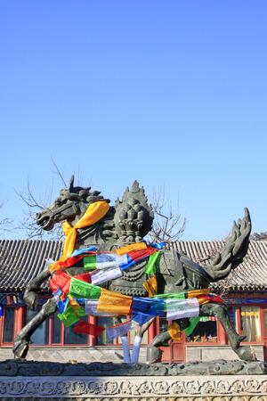 mongolia horse: Hohhot City - February 6: Running horse sculpture in the Dazhao Lamasery, on February 6, 2015, Hohhot city, Inner Mongolia autonomous region, China