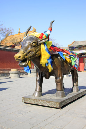 Hohhot City - February 6: Scalpers copper sculpture in the Dazhao Lamasery, on February 6, 2015, Hohhot city, Inner Mongolia autonomous region, China