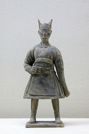 articles: ancient Chinese ceramic figures decorative furnishing articles, closeup of photo