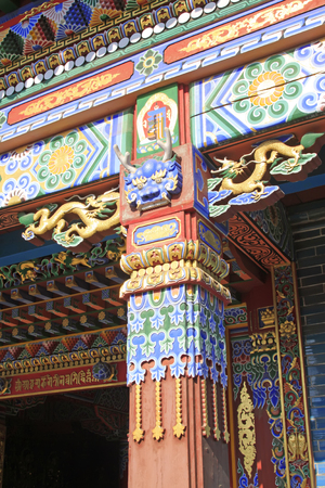 luxuriant: Doorcase decoration coloured drawing or pattern in a temple, closeup of photo