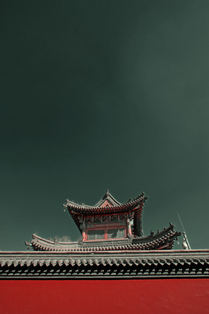 tantra: Gray roof and red walls in the Five Pagoda Temple, Hohhot city, Inner Mongolia autonomous region, China