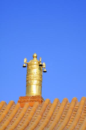 aureate: Gilding copper Dharma chakra in a temple, closeup of photo