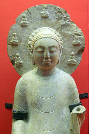 stone carvings: Stone carvings of the Buddha in a museum, closeup of photo