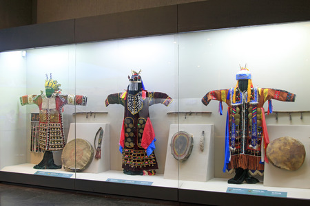testimony: Hohhot City - February 7: National costume exhibition in the Inner Mongolia Museum, on February 7, 2015, Hohhot city, Inner Mongolia autonomous region, China Editorial