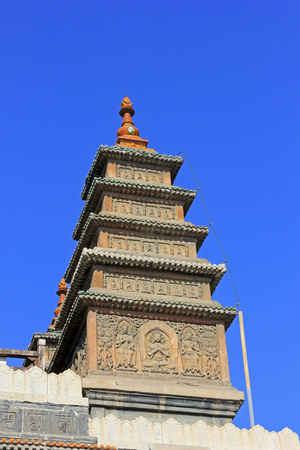 niches: Sarira pagoda building landscape in the Five Pagoda Temple, Hohhot city, Inner Mongolia autonomous region, China