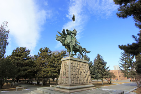 mongolia horse: Hohhot City - February 7: Genghis khan sculpture in Inner Mongolia university campus, on February 7, 2015, Hohhot city, Inner Mongolia autonomous region, China Editorial