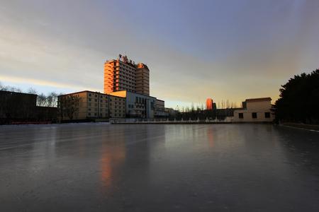 skating rink: Hohhot City - February 7: Binyue hotel and skating rink, on February 7, 2015, Hohhot city, Inner Mongolia autonomous region, China