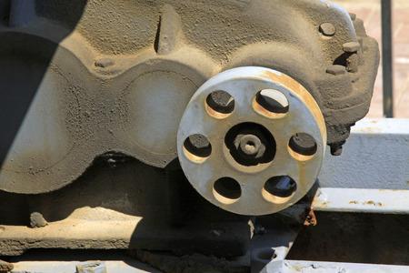 sludge: metal parts with oil sludge, closeup of photo