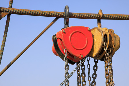 pulleys: industrial tools, pulley sling, closeup of photo Stock Photo
