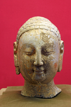 stone carvings: Stone carvings head portrait of the Buddha