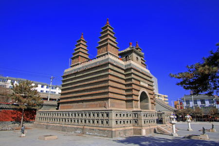 restore ancient ways: Hohhot City - February 5: Sarira pagoda in the Five Pagoda Temple, on February 5, 2015, Hohhot city, Inner Mongolia autonomous region, China