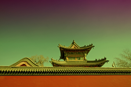 tantra: Gray roof and red walls Stock Photo