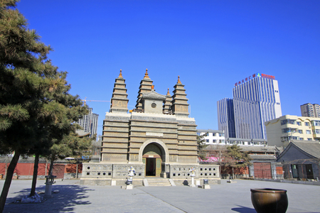 restore ancient ways: Hohhot City - February 5: Sarira pagoda building landscape in the Five Pagoda Temple, on February 5, 2015, Hohhot city, Inner Mongolia autonomous region, China Editorial