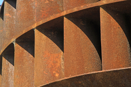 industrial machinery: oxidation rust metal parts, closeup of photo