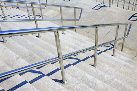 handrails: Stainless steel handrails and steps in a building