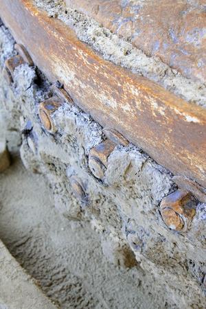 sludge: metal screw with oil sludge, closeup of photo  Stock Photo
