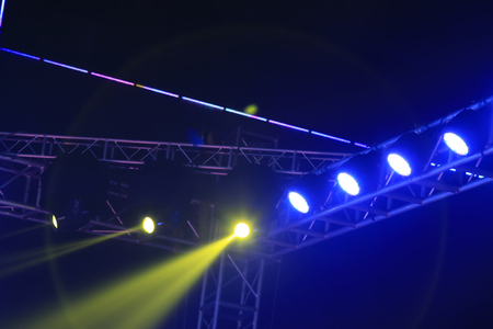 stage lights: stage lights and metal frame, close up