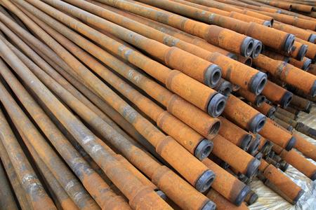 prospecting: Oil pipes Stock Photo