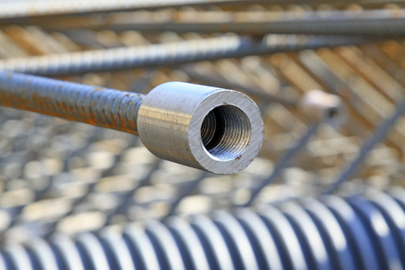 threaded: Threaded metal parts in the construction site Stock Photo