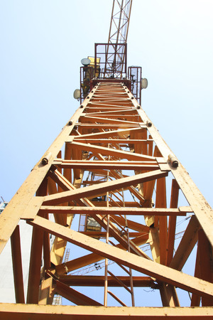 Tower crane stent upward view, in the construction site