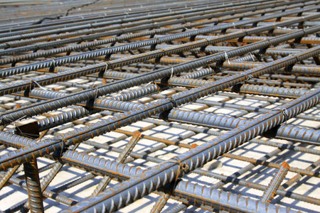 steel bar: Screw thread steel bar framework, in the construction site Stock Photo