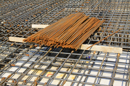 strong foundation: Screw thread steel bar framework, in the construction site Editorial