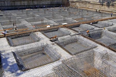 sedimentation: Reinforced concrete casting framework in a construction site, closeup of photo