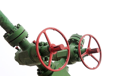damage control: Oil pipeline control handwheel, closeup of photo