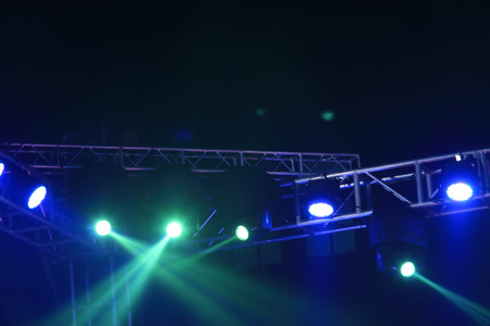 stage lights: stage lights and metal frame, closeup of photo