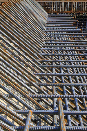 strong foundation: Screw thread steel bar framework, in the construction site Stock Photo