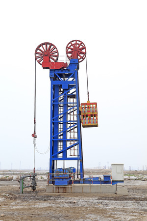 'rock drill': Jidong oilfield tower type pumping unit in china, closeup of photo Stock Photo