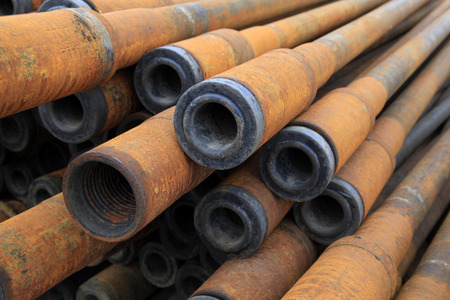 abrasion: Oil pipe piled up together, closeup of photo