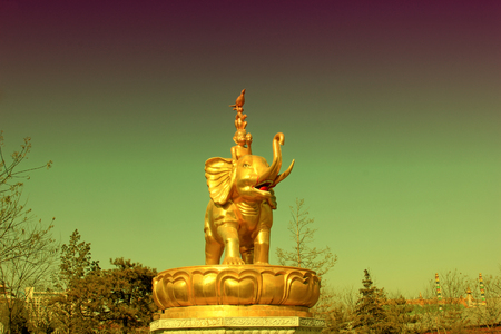 tantra: Hohhot City - February 5: Harmony four sculpture in the Xilituzhao Lamasery, on February 5, 2015, Hohhot city, Inner Mongolia autonomous region, China Editorial