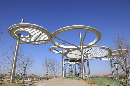 stainless steel ring building landscape construction site