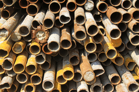 deformation: Rust deformation steel pipe in the construction site Stock Photo