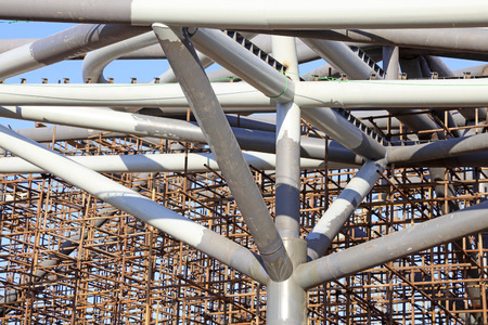 scaffold: giant steel tube and the scaffold under the blue sky